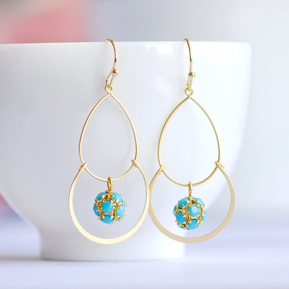 blue turquoise earrings - Gold hoop chandelier earrings - Gold and Turquoise earrings - Cute bridesmaids gift