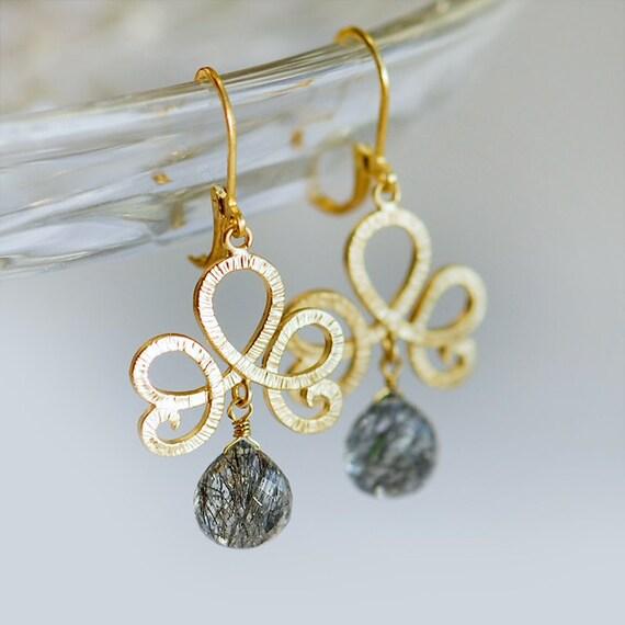 Gold chandelier earrings, Grey earrings, grey and gold jewelry, Rutilated Quartz earrings in gold