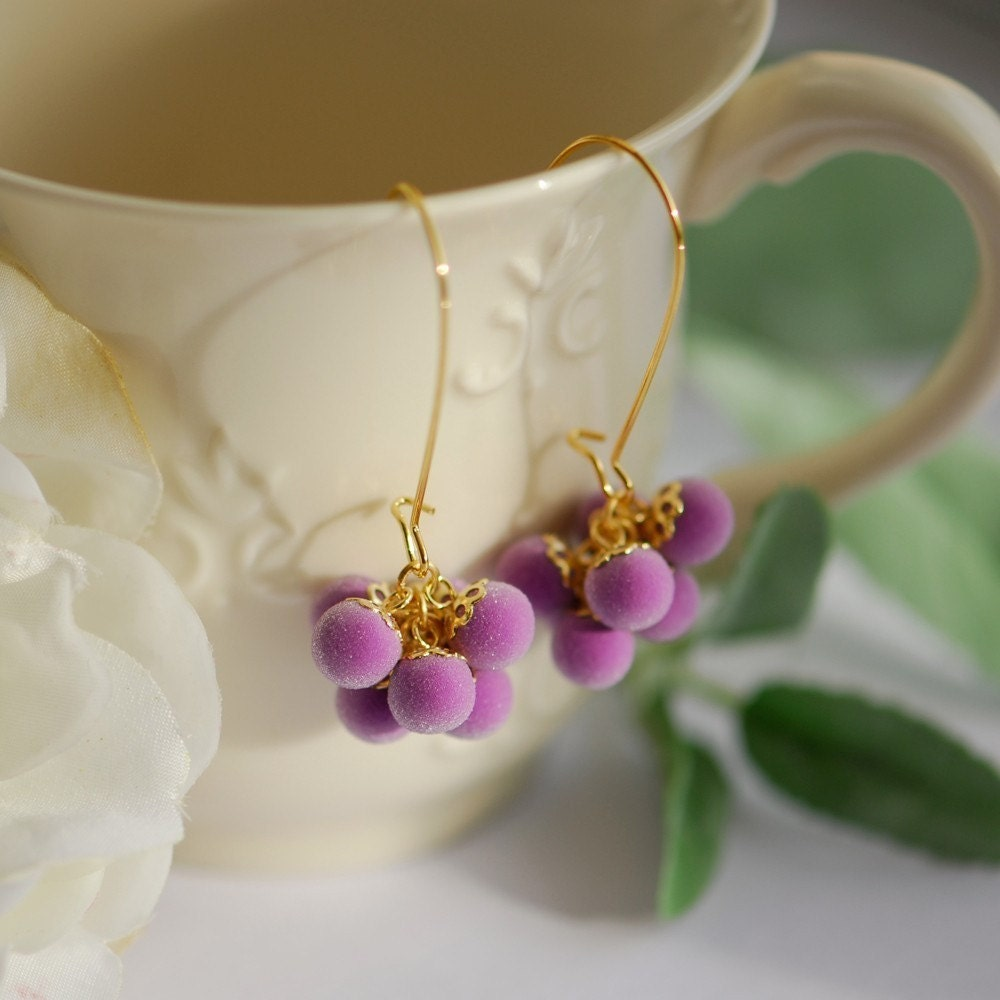 Purple Earrings Unique Gifts For Women Polymer Clay By