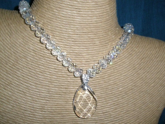German GlassTeardrop Pendant Necklace  with faceted glass clear crystals and free pair of earrings.