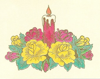 Candle Surrounded by Roses
