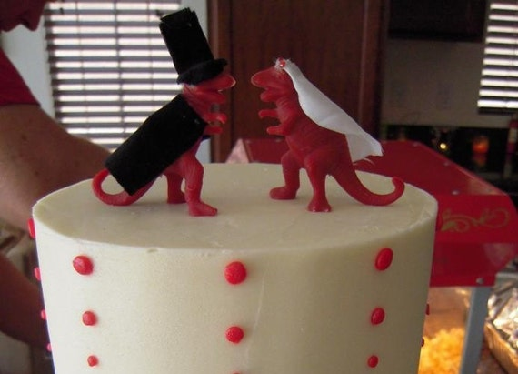 Wedding Cake Toppers Dinosaurs Alternative Silly Fun Nerdy