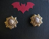 Steampunk / Victorian Gold Sun Earring Posts
