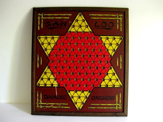 Vintage game board Ante Up Rummy and Chinese checkers