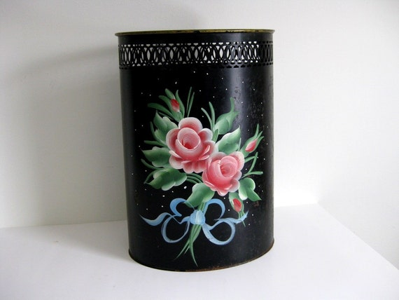 Vintage trash can tole hand painted