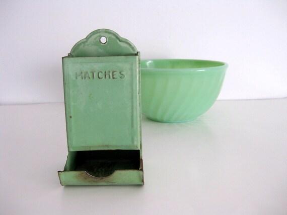 Antique match safe tin cottage green