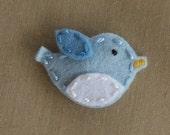 Tweet Bird  Aqua  Wool Felt Baby Snap Hair Clip ( Small )