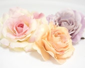 Antique Lavender, Peach, OR White Open Bloom Rose Flower Hair Clip