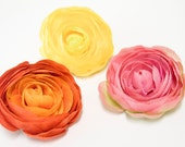 Stunning RANUNCULUS Flower Hair Clip in Pink, Yellow OR Orange