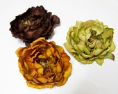 Large Premium PEONY Flower Hair Clips, CHOOSE Butterscotch Yellow/Brown, Sage Olive Green, or Chocolate Brown