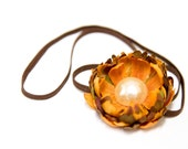 OOAK - Autumn Longing - Flower Blossom Headband in Amber Orange, Moss Green, and Brown