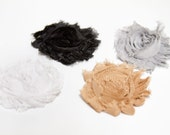 SALE - NEUTRALS - Shabby Chic Chiffon Rosettes Fabric Flower Hair Clips, Brooches, or Headbands in Black, Mocha, White, Gray