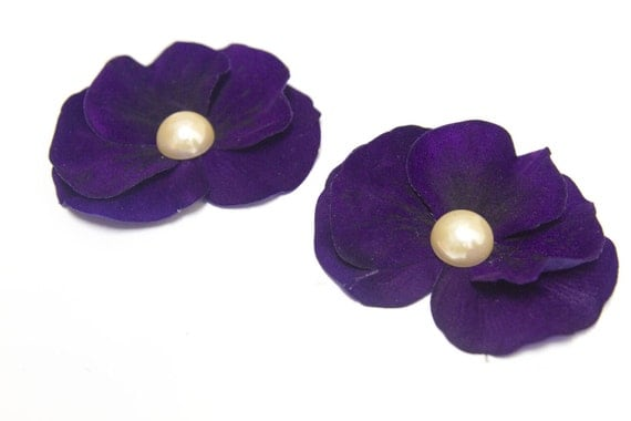 INVENTORY REDUCTION SALE - Blue Violet Purple Pansy Pigtail Pair Flower Hair Clips