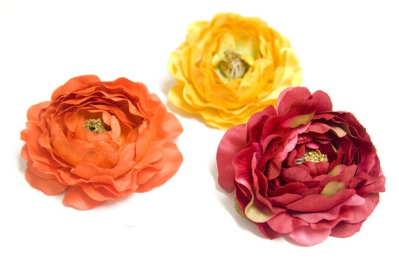 BOUTIQUE QUALITY Dried Look Large Ranunculus in Dark Pink, Yellow OR Orange Flower Hair Clip