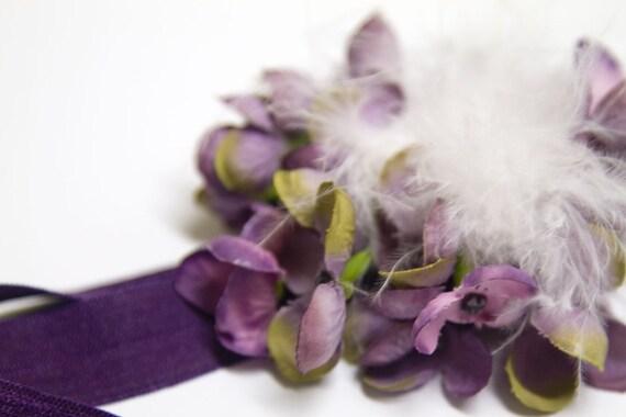 Feather Hydrangea Flower Headband in Purple and White
