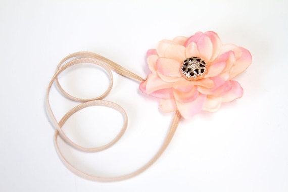 Daily Deal - 50% off - FIVE DOLLAR SALE Single Small Peachy Pink Flower Blossom Elastic Headband with Vintage Style Filigree Button Center