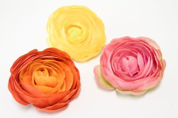 Stunning RANUNCULUS Flower Hair Clip in Pink, Yellow OR Orange