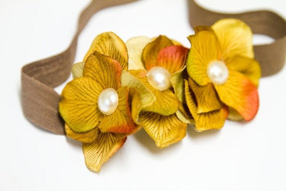 """THE """"Falling Leaves"""" - Luxe Hydrangea Flower Headband in Mustard Yellow and Biscuit Brown"""