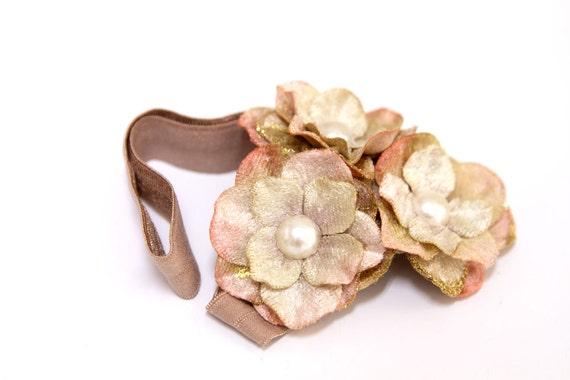Matilda Jane M2M - SIMPLETON - Hydrangea Flower Blossom Headband in Peachy Pink, Tan, and Mocha, Serendipity