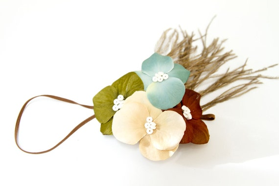 Matilda Jane M2M - SUGAR and SPICE - Hydrangea Flower and Feather Headband, Antique Aqua, Beige, Green, and Brown, Serendipity