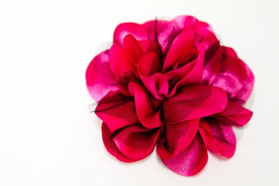 REDUCED - Satin and Tulle Flower Hair Clip in Hot Pink and Black