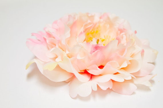 Photography Prop Perfect Portrait Large Peony Flower Hair Clip in Cream Pink