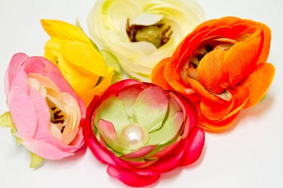 Ranunculus Flower Hair Clip, CHOOSE YOUR COLOR, orange, light pink, yellow, hot pink, cream