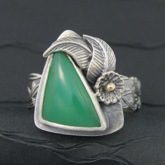 sterling silver and chrysoprase Mucha ring size 9.25