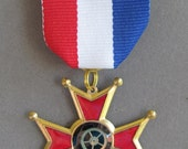Red white and blue Steampunk Medal