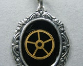 Steampunk Pendent Silvertoned With Brass Gear