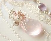 Flawless Rose Quartz Cluster Necklace with Pearls - Sterling Silver