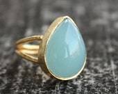 Sea Green Chalcedony Ring - Adjustable Ring - Teardrop Cut, Size 6 Ring
