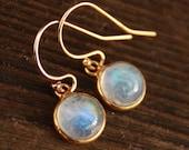 Petite Rainbow Moonstone Earrings - 14KT gold fill