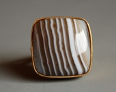 Chocolate Brown Lace Agate Ring - Square Ring - Gold, Chunky Square Stone Ring, Stripes