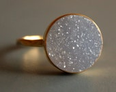Soft Natural Grey Druzy Ring - Round Stone Ring - Vermeil Gold, AAA Grade