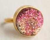 Fuschia Pink and Metallic Gold Druzy Ring - Titanium Coated - Adjustable Ring