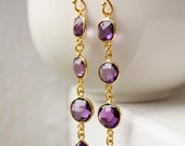 Gold Purple Amethyst Quartz Earrings - Long Dangle Earrings - Royal Purple, Bright Purple