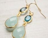 Aqua Blue Chalcedony and London Blue Topaz Teardrop Earrings - 14Kt Gold Fill - Something Blue