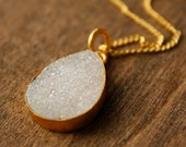 White Agate Druzy Teardrop Necklace - Arctic Ice - Brushed Gold