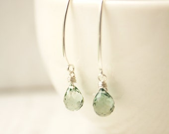 Teal Quartz Earrings - Sterling Silver filled - Sage Green