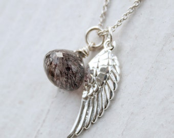 Moss Amethyst and Wing Charm Necklace - Sterling Silver