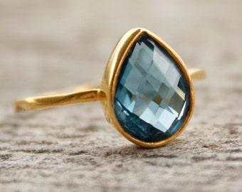 Gold Blue Topaz Ring - Gemstone Ring - London Blue, December Birthstone Ring, Teardrop