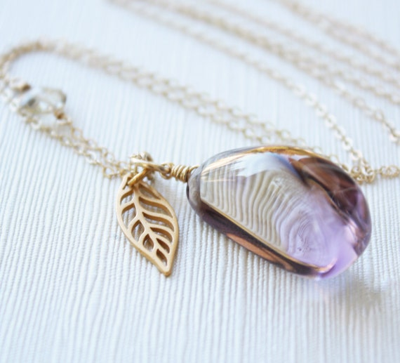 Gold Purple Ametrine Necklace - Layering Necklace - AA Grade