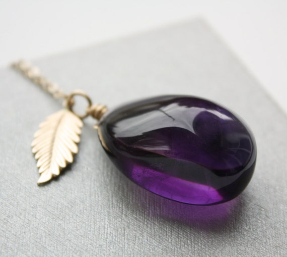 Brilliant Purple Amethyst Necklace - Feather - Leaf - 14KT Gold Filled
