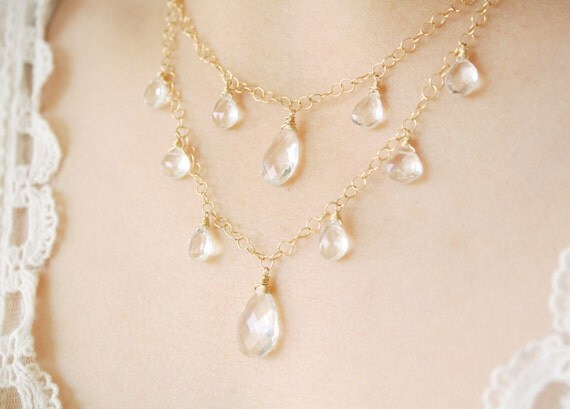 SALE - Extravagant Crystal Bridal Necklace - Quartz - 14KT Gold Fill, wedding jewelry, crystal bridal jewelry - Marked Down
