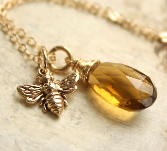 Gold Bumble Bee Necklace - Champagne Citrine - 14kt Gold Fill