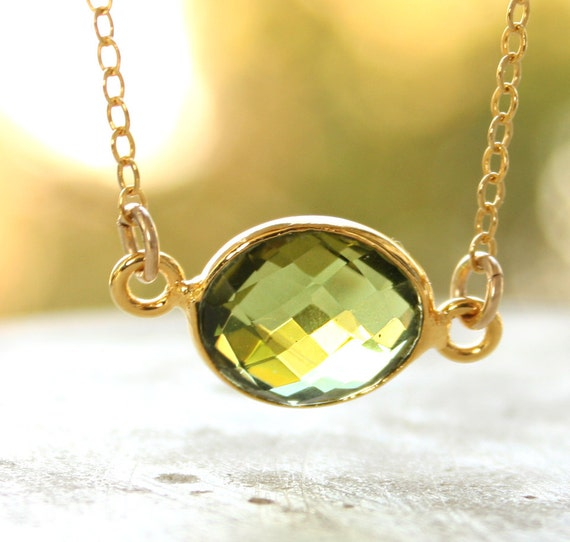 Gold Green Peridot Quartz Necklace - August Birthstone Necklace, August Birthdays - 14KT Gold Fill
