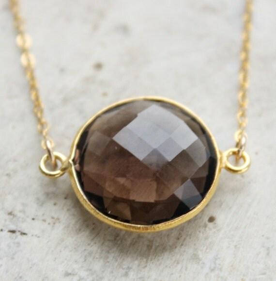 Smokey Quartz Necklace - 14KT Gold Fill - Bezel Necklace