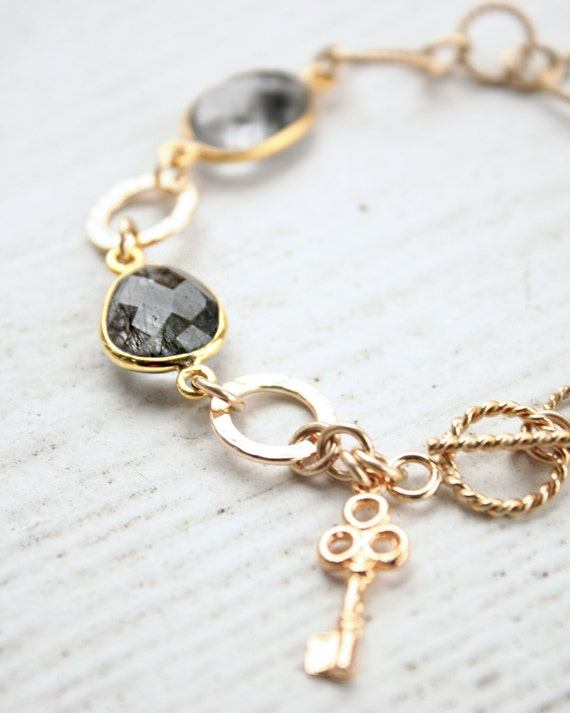 SALE - Tourmalinated Quartz Bracelet - Black Rutile Quartz - Black and Gold - Marked Down