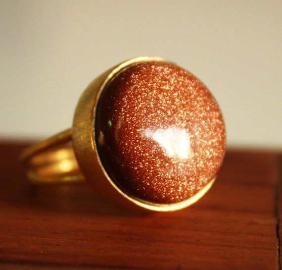 Gold Sunstone Ring - Orange Sunstone - Golden Shimmers